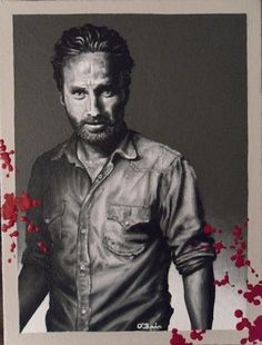 Acrylic painting of Rick Grimes from 'The Walking Dead.' This Etsy artist has portraits of each cast member, so incredible!
