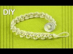Easy Macrame Bracelet with Beads and Button Clasp - Tutorial - YouTube