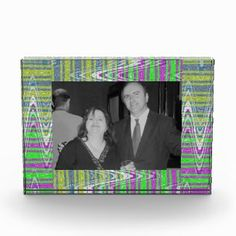 Acrylic Photoframe paperweight Colorful zigzag pattern design #zazzle #gifts #frames