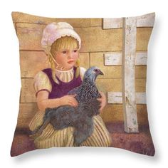 Visitors to this pin might like to see this art of a girl with her Brahma hen online at Fine Art America (Click the image). Pillows come in six sizes, in cotton or polyester poplin, pretty for a country home and porch. The art can be purchased as prints, greeting cards, phone cases and more.  Here is the link: http://fineartamerica.com/featured/heritage-hen-brahma-chicken-nancy-lee-moran.html ♡ Thank you from the artist! #NancyLeeMoran #chicken #Americana
