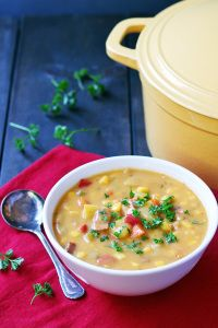 Potato Soup - Potato Bacon Corn Chowder is a hearty, easy-to-make soup for chilly fall and winter days. | tiaskitchen.com/potato-soup-recipe-potato-bacon-corn-chowder-gluten-free-dairy-free