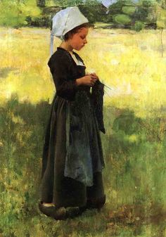 Jeune bretonne, Peinture de Willard Leroy Metcalf