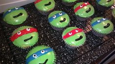 Ninja Turtle Cupcakes for the boys birthday (i made these)   Heather......we were just talking about Ninja's today.......