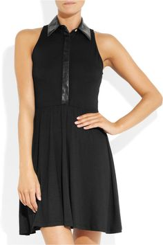 Image result for black sleeveless collared jersey dress