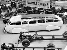 1930s Daimler- Benz Streamlined Bus, with chassis on display, Paris Motor Show?