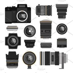 Camera photo optic lenses vector Graphics Camera photo optic lenses set on white background. Different types objective equipment, professional by RocketArt Monster Illustration, Flat Illustration, Camera Doodle, Binoculars, Lenses, Vector Vector, Vector Graphics, Digital, Stickers