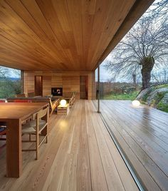 Architecture, Comely Modern Wooden House In Berrocal, Spain By Ch Qs Arquitectos Featuring Timber Dining Room Interior Design And Living Space With Table Lamp Plus Wood Deck ~ Gorgeous Wooden Retreat with Natural Environment Around Interior Architecture, Interior And Exterior, Interior Design, Room Interior, Garden Architecture, Casas Containers, Design Hotel, Property Design, House In The Woods