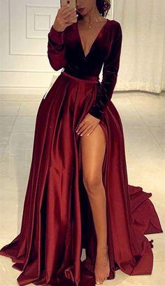 Velvet long sleeves satin split prom evening gown dresses - Source by xmyrealname - Prom Dresses Long Open Back, Pretty Prom Dresses, Prom Dresses For Teens, Prom Dresses Long With Sleeves, Prom Outfits, Black Prom Dresses, Satin Dresses, Dress Long, Long Sleeve Formal Dress