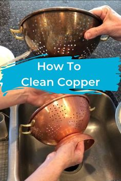 How to clean copper without scrubbing. I have some copper pots and a strainer that are just plain dingy looking. I decided to try a bunch of copper cleaning hacks to see what would work best to clean it.
