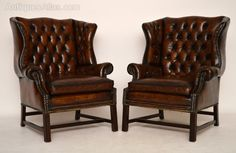 Pair Antique Deep Buttoned Leather Wing Armchairs - Antiques Atlas