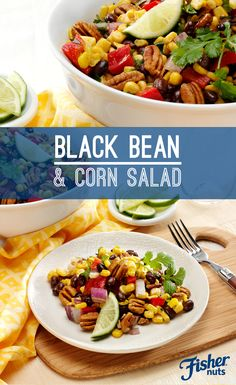 This south-of-the-border classic, Black Bean and Corn Salad, has all of the standard ingredients with one special addition: Fisher Pecans! Chop pecans into bite-size pieces to get just enough crunch and flavor in every forkful.