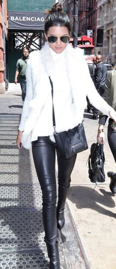 Love Kendall Jenners outfit! Especially that fur vest