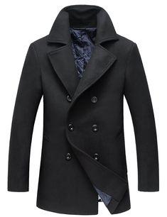 6dfa9aebcf3 Men s Winter Coats Fashion Wool Pea Coat - 1883 Black - CL186I083OT