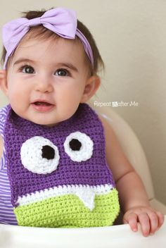 How funny/ scary is this??? Crochet monster bib - 2 different designs by Repeat Crafter me. Free pattern. Love it.
