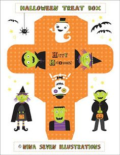FREE printable Halloween Treat Box by We Love to Illustrate: