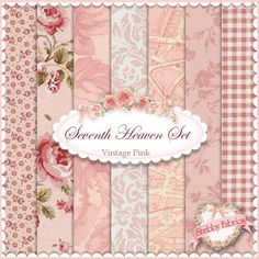 """Seventh Heaven 7 FQ Set - Vintage Pink: This Seventh Heaven Set is an exclusive Shabby Fabrics creation!  We have taken the guesswork out of finding coordinating fabrics.  This set contains 7 coordinating fat quarters, each measuring approximately 18"""" x 21""""."""