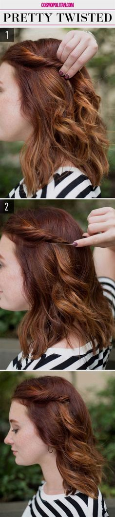 Pretty Twisted Hair Super-Easy Hairstyles for Lazy Girls Who Can't Even Lazy Girl Hairstyles, Super Easy Hairstyles, Cute Simple Hairstyles, Step By Step Hairstyles, Chic Hairstyles, Wedding Hairstyles, Hairstyles For Picture Day, Easy Hairstyles For Short Hair, Bobby Pin Hairstyles