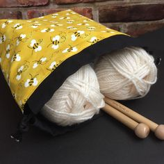 "Honey Bee Knit & Crochet Project Bag Black Yellow Cotton Drawstring Flat Boxed Bottom Tote Bucket Travel 11"" x 9.5"" Save the Bees Charity by kitchenklutter on Etsy"