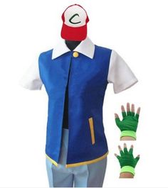 Pride Panda Adult Pokemon Ash Ketchum Cosplay Costume Set(Jacket+Gloves+Hat)
