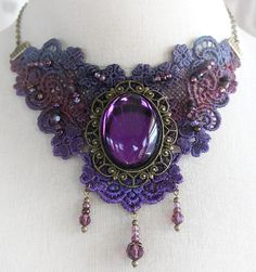 LADY AMETHYST Victorian lace choker with by TheVictorianGarden, $54.00