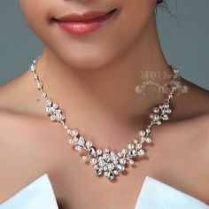 Pearl WEdding Necklace, White Pearl Rhinestone Vine Bridal Necklace,  Wire Wrapped Austrian Crystal Silver Wedding Jewellery