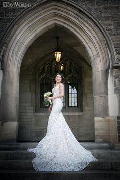 Beautiful Inbal Dror wedding dress for a Toronto bride at University of Toronto's Hart House! SPRINGTIME IN PARIS WEDDING THEME www.elegantwedding.ca