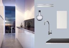 FAKTUM keuken met ABSTRAKT deuren/lades in hoogglans wit en zwart NUMERÄR werkblad met rand in metaalpatroon