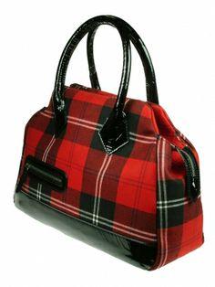 Ramsay Red Emily tartan handbag with leather trims