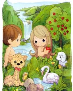 Precious Moments Adam and Eve Precious Moments Coloring Pages, Precious Moments Quotes, Precious Moments Figurines, Cute Images, Cute Pictures, Bible Stories For Kids, Book Reviews For Kids, Jesus Pictures, Adam And Eve