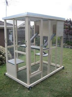 CAT ENCLOSURE (PLAYPEN) | Pet... this one even has wheels to roll it around the yard