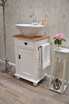 """""""Montcalm"""" country-style vanity of bathroom furniture-country house, country and. - """"Montcalm"""" country-style vanity of bathroom furniture-country house, country and love- # - Diy Bathroom Vanity, Diy Vanity, Vanity Sink, Bathroom Furniture, Modern Bathroom, Small Bathroom, Bathroom Pink, Diy Furniture, Shabby Chic Zimmer"""