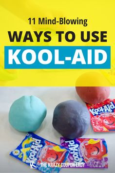 """Do you love off-the-wall life hacks, kids' DIY ideas, and cleaning tips? Does anything scream """"childhood"""" more than Kool-Aid? It's seriously the best on a hot day. But did you know how many other things you can do with Kool-Aid? Well, Kool-Aid playdough, for one! This list will have you running to buy Kool-Aid in all the flavors. The Krazy Coupon Lady has the unbelievable hacks that you'll love. Just make sure you check our coupons page, first! Homemade Crafts, Diy Crafts, Do It Yourself Organization, Coupon Lady, Kool Aid, Mind Blown, Scream, Diy For Kids, Save Yourself"""