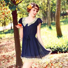 Elegant ruffled pleated sleeve lace peter pan collar chiffon one-piece dress belt slim 2013 summer, Free Shipping