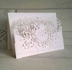 First Communion, Big Shot, Holi, Scrapbooking, Scrapbook Cards, Projects To Try, Faith, Invitations, Ideas