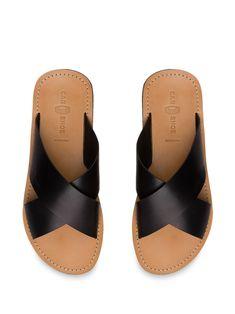 Car Shoe Crossover Strap Sandals - Farfetch Men's Sandals, Strap Sandals, Calf Leather, Black Leather, Car Shoe, Fashion Flats, Crossover, Open Toe, Calves