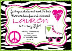 Roller Skate Birthday Party Invitation Personalized by APlumHoot, $12.00
