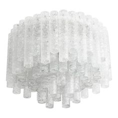 """Mid-Century Modern Flush-Mount """"Eisglas"""" Chandelier:  Doria Leuchten, 1960s 