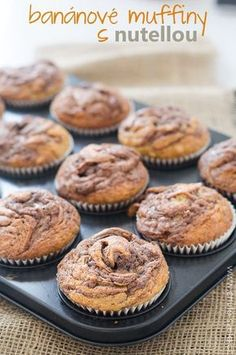 banánové muffiny s nutellou Nutella Muffins, Cap Cake, Cake Recipes, Dessert Recipes, Oreo Cupcakes, Deserts, Food And Drink, Sweets, Cookies