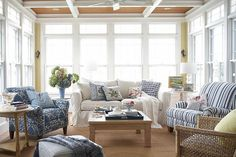 Blue and white living room via Your Cozy Home