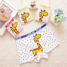 4 pcs/lot Boy underwear Kids giraffe design