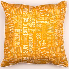 Beach Vacation Words Pillow