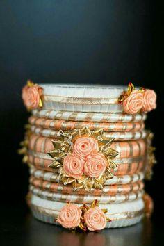 Gotta Patti Thread Bangl e Silk Thread Bangles Design, Silk Bangles, Bridal Bangles, Thread Jewellery, Fabric Jewelry, Women's Jewelry, Silver Bracelets, Silver Jewelry, Gota Patti Jewellery