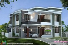 Lakhs cost estimated modern flat roof home 2793 sq-ft 3 Storey House Design, Bungalow House Design, Village House Design, Kerala House Design, House Outside Design, House Front Design, Modern Exterior House Designs, Modern Architecture House, Flat Roof House