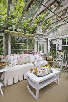 Gorgeous rustic luxe she shed by Heather Cameron with shabby chic decor, crystal chandelier, and construction made from vintage windows! Come explore She Shed Chic, Potting Shed & Backyard Inspiration. Shabby Chic Greenhouse, Small Greenhouse, Greenhouse Ideas, Backyard Greenhouse, Fun Backyard, Portable Greenhouse, Greenhouse Interiors, Shabby Chic Garden, Backyard Movie