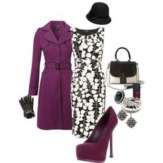 dark purple trenchcoat with matching pumps, black and white sleeveless knee length dress, vintage hat