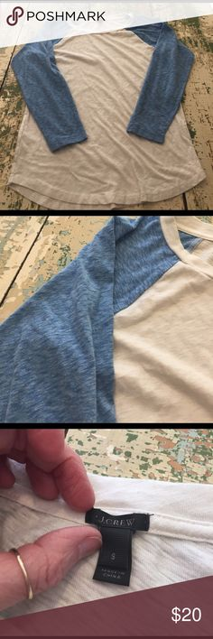 JCrew baseball shirt Cute blue and cream baseball shirt J. Crew Tops Tees - Long Sleeve