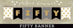 50th Birthday Banner - Fifty Birthday Gold Glitter Banner Decorations - 50 Birthday Party Ideas - Fiftieth Happy Birthday Banner  (EB3062)