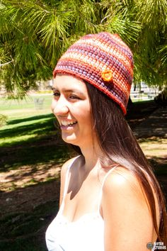 Woman crochet skull cap made with super bulky yarn by keepongivin