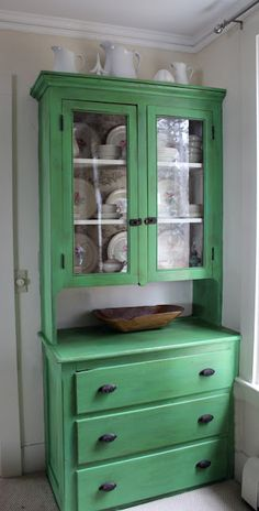 Dining Room hutch painted in Annie Sloan Chalk Paint Antibes Green