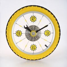 Maples Clock LZXC-16-YL Aluminum Bicycle Wheel with Rubber Tire Wall Clock - Yellow